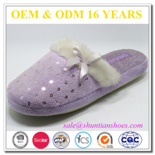 soft plush embroidered sequins with fur collar& bow warm indoor woman slipper
