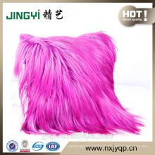 Home Decorative Long Hair Goat Skin Cushion Grey