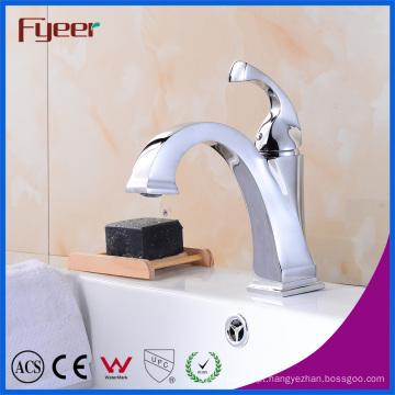 Fyeer Novo Design Niedrig Corpo Cromado Crooked Quadrado Bico Único Punho Torneira Misturadora de Água Da Torneira
