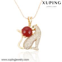 32127-Xuping Colgante de latón con forma de leopardo animal de excelente calidad con perla
