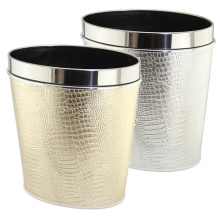 Leatheretee Stainless Steel Top Rim Oval Waste Bin