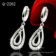 Boucle d'oreille de mode en argent sterling 925 avec CZ (Q-2262)