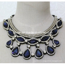 Lady Fashion Costume Jewelry Blue Glass Crystal Pendant Necklace (JE0207)