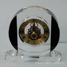 Black and Clear White Crystal Desk Quartz Clock for Hotel