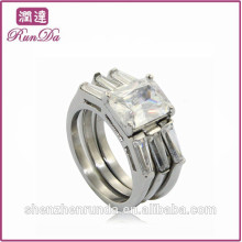 China hot sale 3 part stainless steel diamond rings jewelry