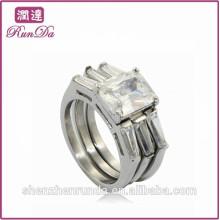 China venda quente 3 peças de aço inoxidável diamante jóias anéis