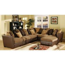 Sofa en cuir chenille et cuir avec tabouret
