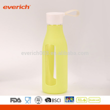 600ml Bulk Custom Glass Milk Bottles With Silicone Sleeve And Handle Lid