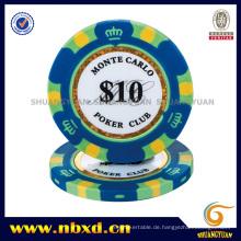 14G 3-Tone Crown Monte Carlo Clay Poker Chip mit Gold Trim Aufkleber (SY-E36)