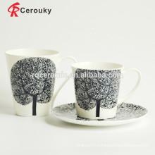 Черный большой логотип дерево керамическая кружка молока