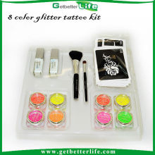 2015 getbetterlife kit de tatouage professionnel temporaire paillettes, tatouage paillettes set Body Art Tattoo temporaire