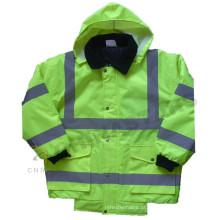 EN ISO 20471: 2013 e ANSI / ISEA 107-2010 jaqueta de bombardeiro reflector impermeável classe 3