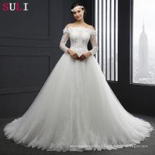 SL-041 manga larga fuera del hombro encaje vestido de boda vestido de bola 2016