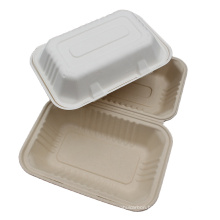 Takeaway Disposable Sugarcane Bagasse Food Box Container With Lid