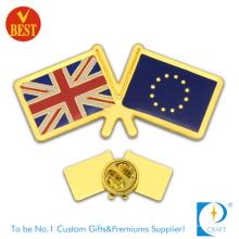 Vente en gros en Chine Estampage sur mesure Enjoliveur d'or Emblème de badge de drapeau de pays en haute qualité