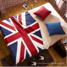 100% poliéster coral velo bandeira do Reino Unido design bebê cobertor