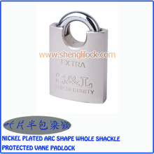 Security Nickel Plated Arc Shape Whole Shackle Protected Vane Padlock