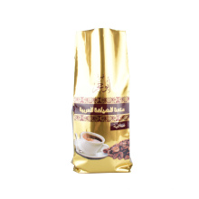 Heat Seal Printed Roasted Coffee Beans Powder Side Gusset Aluminium Foil Golden Luxury Packaging Bag
