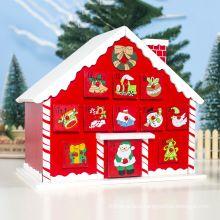 Popular Christmas decoration painted snow roof hut Countdown Calendar storage box for Christmas gifts