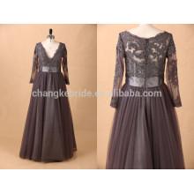 Manga larga de la muselina barata de la mujer al por mayor más el vestido de noche del tamaño