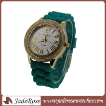 Green Silicone Strap Ladies Fashion Wrist Watch
