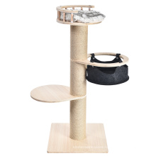 New Pet Products Design Multi-Level Cat Tree Wood Condo Tower