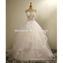 Luxury korea see through off shoulder 2016 wedding dress with lace
