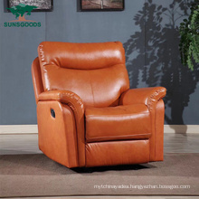 High Quality Orange Wooden Frame Single Chair Couches Leisure Leather Sofa Living Room Furniture Sofa