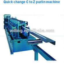 C / Z Shape Изменяемая стальная линия производства Purlin