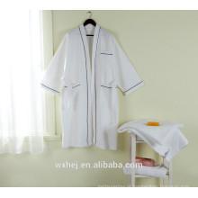 Poli algodão waffle kimono spa robe para homens e mulheres