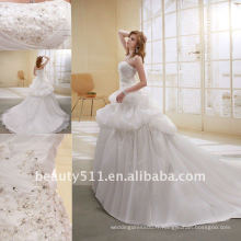 Astergarden Fashion Beading A-line organza fleur Voiles comme cadeau Noblest Robe de mariée en train de déshabiller AS-004