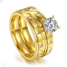 Оптовая продажа золото ювелирные изделия на заказ свадебные помолвке пара из нержавеющей стали CZ кольца наборы