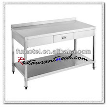S053 Stainless Steel Bench With Drawer And Splash Back With Under Shelf