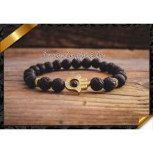 Природные агат камень браслет ювелирные изделия Золото Hamsa Мужские и женские модели из бисера Браслеты бижутерия (CB050)