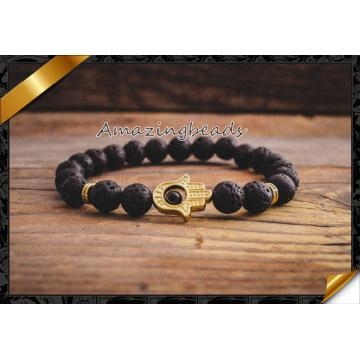 Natural Agate Stone Bracelet Jewelry Gold Hamsa Male and Female Models Beads Bracelets Fashion Jewelry (CB050)