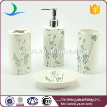 Cerâmica, bonito, china, banheiro, acessório, azul, flores