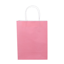 Eco friendly brown kraft pink free shipping pink paper bag with handles