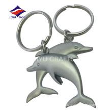 Wholesale bulk metal matte nickel 3D dolphin keychain