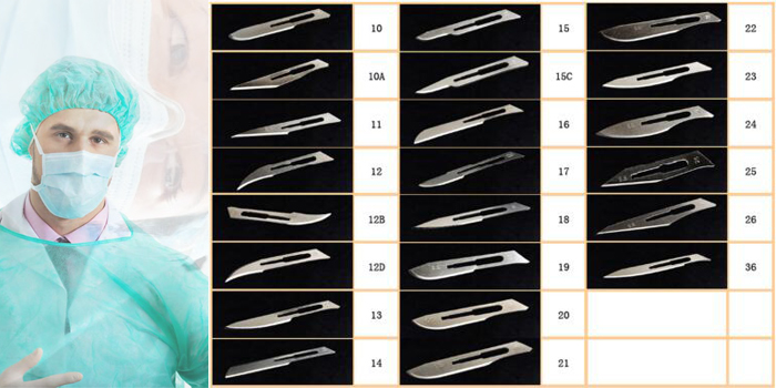 Different sizes of surgical blades