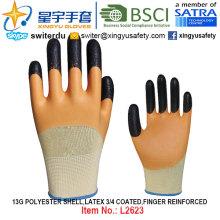 13G poliéster Shell Latex 3/4 recubierto, dedo reforzado guantes (L2623) con CE, En388, En420, guantes de trabajo