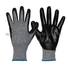 Couper 5 gants résistant à la coupe tricotés Hppe avec un revêtement de nitrate de lisse