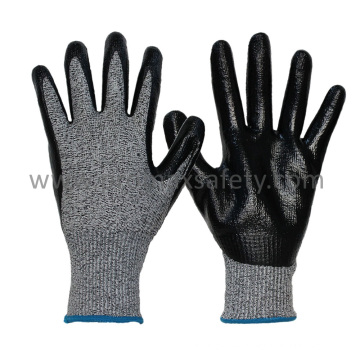 13G Chineema Knitted Cut Resistant Gloves with Smooth Nitrile Palm Coated