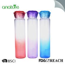 Botella de agua de vidrio transparente que adelgaza 400ML