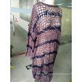Spring Fashion Pink Stripe Color Openwork Jacquard Thin Ladies Sweater