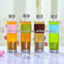 Hot Sell 2014 New Products Unusual Gifts Stylish Glass Sport Bottles With Silicone Sleeve
