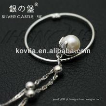 Unique design pérola jóias pingente 925 colar de corrente de prata sliver
