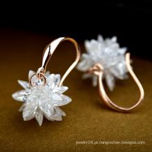 Brinco fresco e bonito de cristal puro da flor brilhar pedra natural brinco pingente de flor de flor para meninas adolescentes