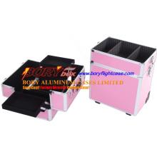 Персонализированный розовый 3-х слойный портативный туалетный столик для макияжа с разделителем