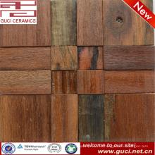 China fabrica la teja de mosaico de madera de la pared de la nave vieja natural para la sala de estar