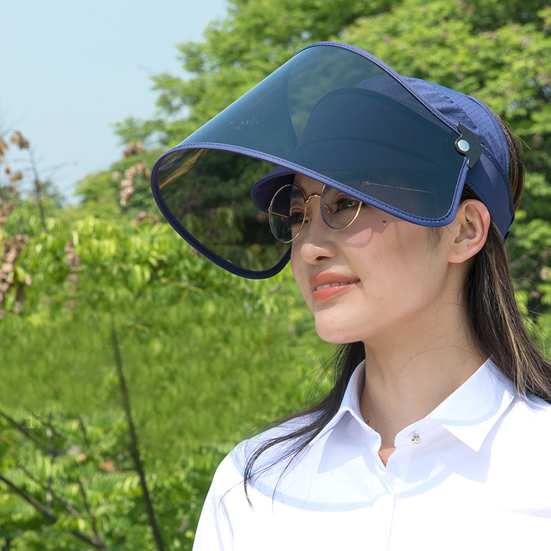 Large Brim Face Shield Fashion Sun Visor Cap Factory Wholesale Plastic Sun Visor Hat For Women Men Supplier
